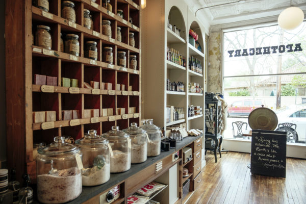 a line of jars and goods at Tipple and Rose Tea Parlor and Apothecary