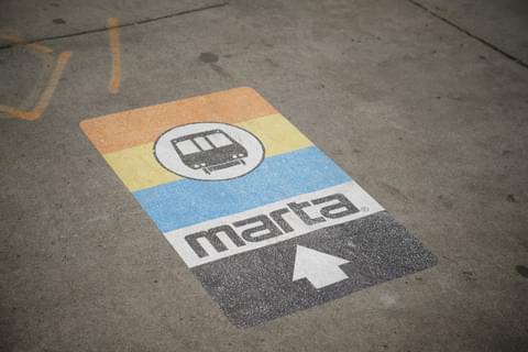 Marta subway sign painted on floor