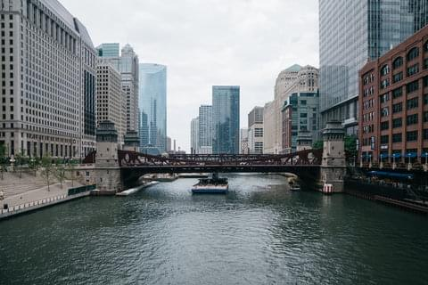 Downtown Chicago River View,