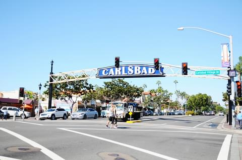 Local shops line downtown Carlsbad, providing a small-town getaway by the sea.